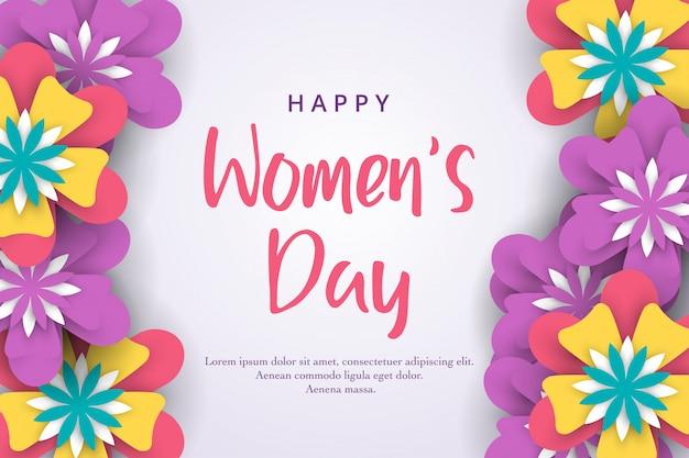 3月8日。カラフルな紙の花で国際的な幸せな女性の日 Premiumベクター
