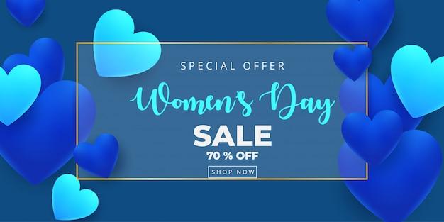 3月8日。幸せな女性の日セールバナー Premiumベクター