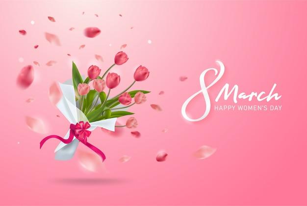 3月8日の背景。国際幸せな女性の日。現実的なチューリップの花の花束。 Premiumベクター
