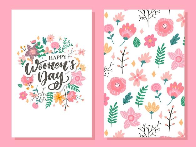 3月8日線形花の花輪を持つ幸せな女性の日お祝いカード Premiumベクター
