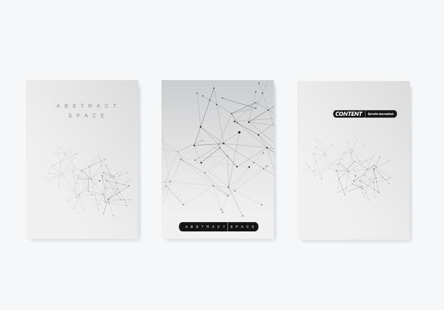 3 шаблона обложки для брошюры в формате a4 современный геометрический фон со связанными линиями и точками Premium векторы