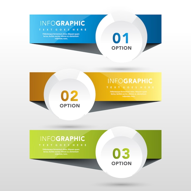 3 Banners With Round Label Template Vector Free Download