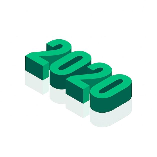 白の抽象的な3 d 2020年テキスト 無料ベクター