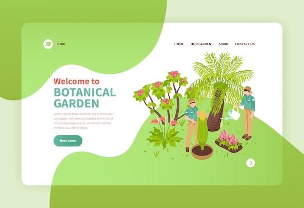 エキゾチックな植物等尺性バナー3 dの植物園で働く2人 無料ベクター