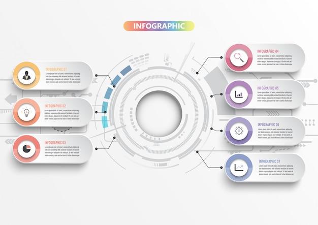 3 dペーパー、統合円とインフォグラフィックテンプレート。 7つのオプションを持つビジネスコンセプト。コンテンツ、図、フローチャート、手順、部品、タイムラインインフォグラフィック、ワークフロー、グラフ。 Premiumベクター