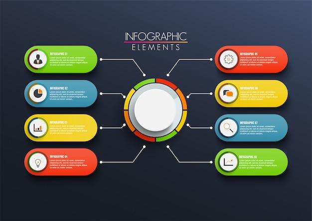 3 dペーパーラベル、統合されたサークルを持つベクターインフォグラフィックテンプレート。 8オプションの事業コンセプト Premiumベクター