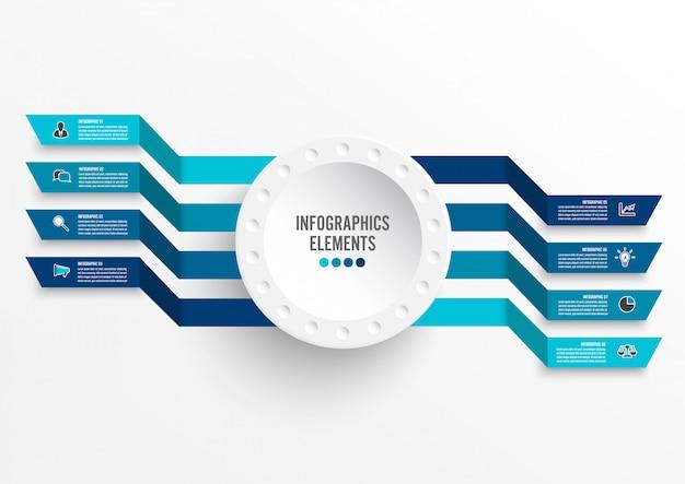3 d紙ラベル付きインフォグラフィックテンプレート。 8つのオプションを持つビジネスコンセプト。 Premiumベクター