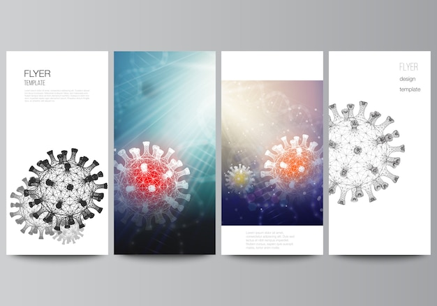 チラシ、ウェブサイト広告デザイン、縦チラシ、ウェブサイト装飾用のバナーデザインテンプレートのレイアウト。コロナウイルスの3 d医療の背景。 covid 19、コロナウイルス感染。ウイルスの概念 Premiumベクター