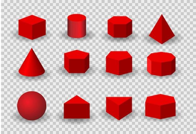 現実的な詳細な3 d色の基本的な形状セットの分離。 cube、cylinder、sphere、coneを含みます。 Premiumベクター
