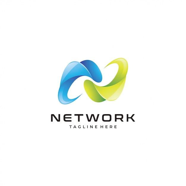 抽象的な3 dシンボル文字nロゴ Premiumベクター
