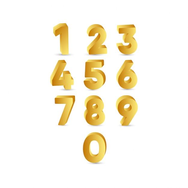 3 d number gold label template design illustration Premium Vector