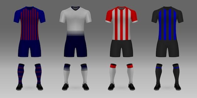 3 dリアルなテンプレートサッカージャージバルセロナ、トッテナム、psv、インターのセットです。 Premiumベクター