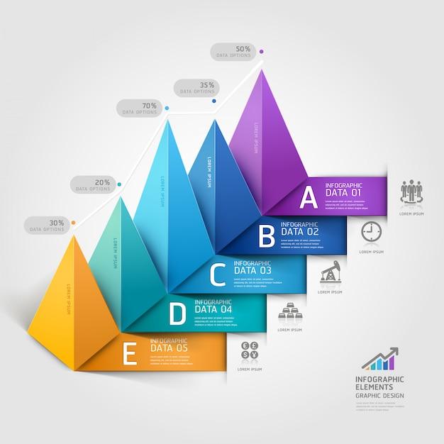 現代のビジネス3 d三角形の階段図stebオプション。 Premiumベクター