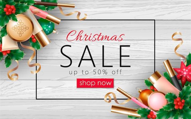 クリスマス化粧品販売3 d現実的なwebバナーテンプレート。女性メイクアップパッケージ Premiumベクター