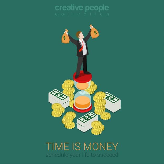 時間はお金のスケジュール管理フラット3 d web等尺性インフォグラフィックビジネス概念ベクトルです。お金の袋を持つ砂時計トップ上昇手に幸せな成功した実業家。創造的な人々のコレクション。 Premiumベクター
