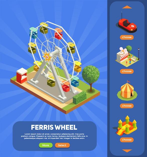 観覧車構成3 d等尺性と遊園地のwebページ 無料ベクター