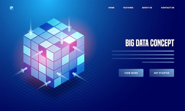 ビッグデータの概念に基づく青色の背景に光沢のあるデータキューブの3 dイラストレーションは、webポスターやランディングページのデザインに基づいています。 Premiumベクター