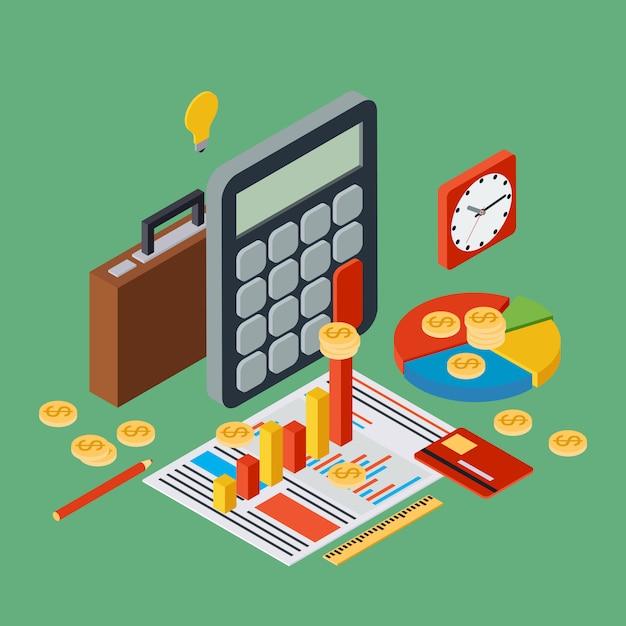 事業報告、財務統計、管理、ポートフォリオ、分析フラット3 d等角投影ベクトルの概念。現代のwebインフォグラフィックイラスト Premiumベクター