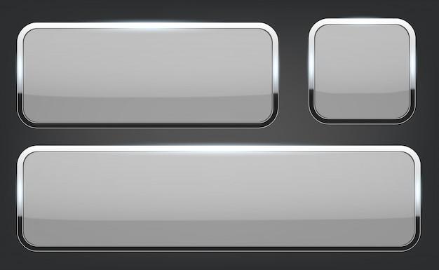 クロムフレームの背景を持つ3 dガラスボタン。 Premiumベクター