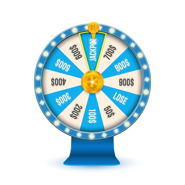 カジノジャックポットホイールを回転させる3 d運命のギャンブル。 Premiumベクター