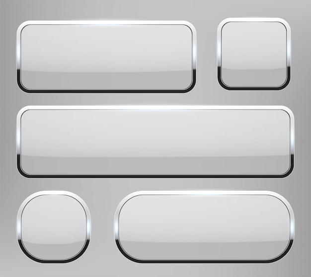 クロムフレームの背景を持つ3 dのガラスボタン。 Premiumベクター