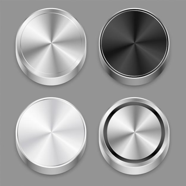 リアルな円形3 dブラシをかけられた金属のアイコンを設定 無料ベクター