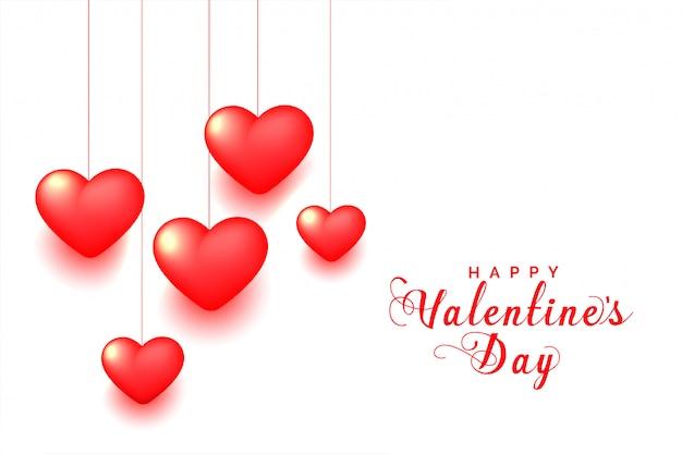 3 dぶら下げ赤いハートバレンタインの日グリーティングカード 無料ベクター