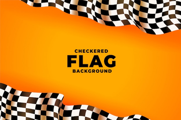 3 dチェッカーレース旗黄色背景 無料ベクター