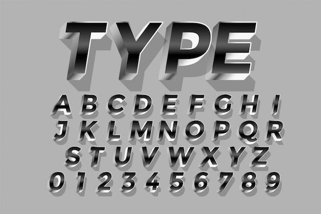 3 dスタイルのシルバーの光沢のあるテキスト効果デザインアルファベット 無料ベクター