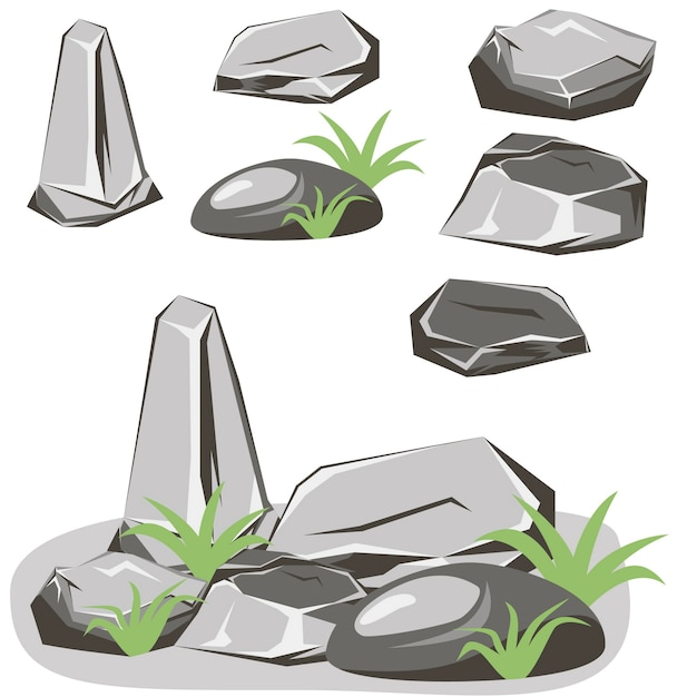 ロックストーンセット。石と岩のアイソメトリック3 dフラットスタイル Premiumベクター