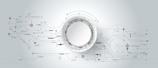 回路基板と線の円と3 dのデザイン紙。イラスト抽象的な現代未来的、工学、科学、技術 Premiumベクター