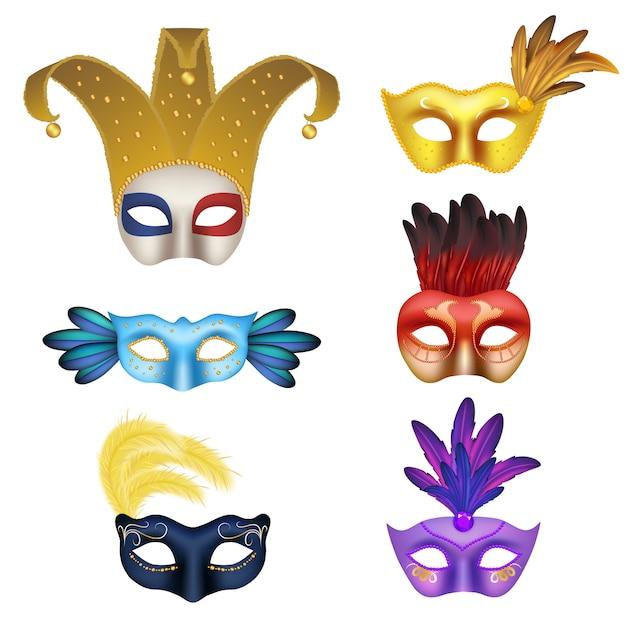 ベクトル現実的なカーニバルマスクアイコンを設定。コスチュームパーティー3 dのリアルなイラストの手作り仮面舞踏会マスク。 Premiumベクター