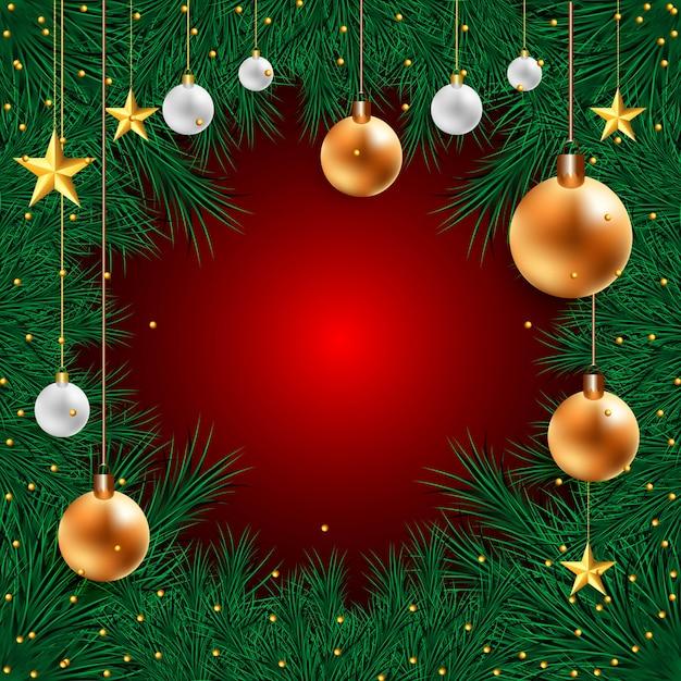 赤のモミの木の枝に現実的な3 dボールのクリスマスホリデーカード 無料ベクター