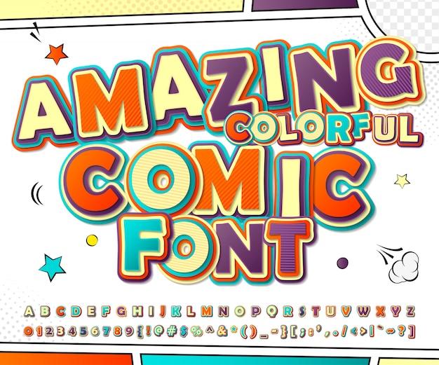 コミックとポップアートのスタイルで3 d漫画のアルファベット。装飾漫画本ページの文字と数字の面白いフォント Premiumベクター