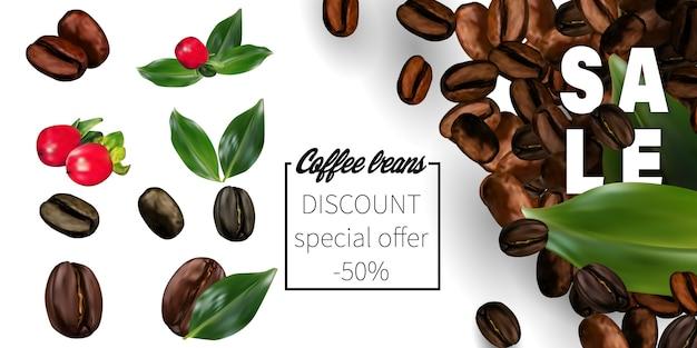 透明な背景に3 dベクトルコーヒー豆。 Premiumベクター
