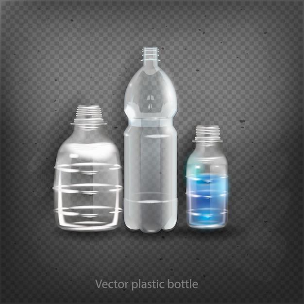 空のプラスチック製のボトル入り飲料飲料ミネラルベクトルプラスチックオブジェクト分離3 d空ラベルイラスト分離 Premiumベクター
