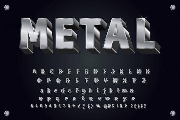 ベクター金属書体3 d大胆なタイポグラフィ Premiumベクター