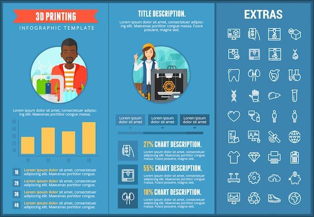 3 d印刷インフォグラフィックテンプレートと要素 Premiumベクター