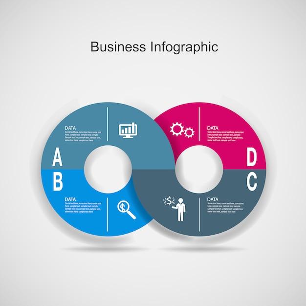 抽象的な3 dデジタルビジネスマーケティングのインフォグラフィック。 Premiumベクター