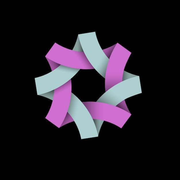 黒、紙3 d折り紙に抽象的な無限ループのロゴ Premiumベクター