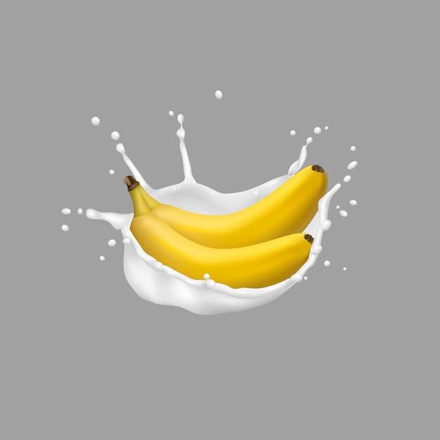 バナナとミルクスプラッシュ、3 dスタイル Premiumベクター