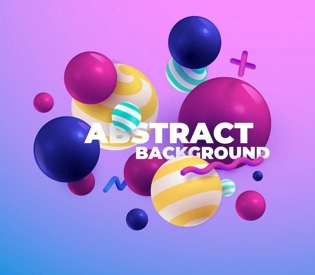 色とりどりの3 dボール。抽象。 Premiumベクター