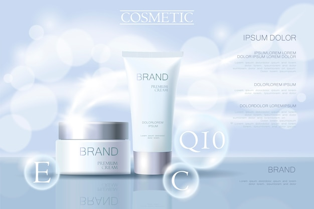 リアルな繊細な化粧品の広告バナーテンプレート3 d詳細 Premiumベクター