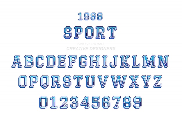 スポーツオリジナルレトロ3 d太字フォントのアルファベット文字と数字 Premiumベクター