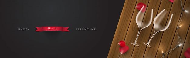 3 dのロマンチックな夜のバレンタインバナーカードイラスト Premiumベクター