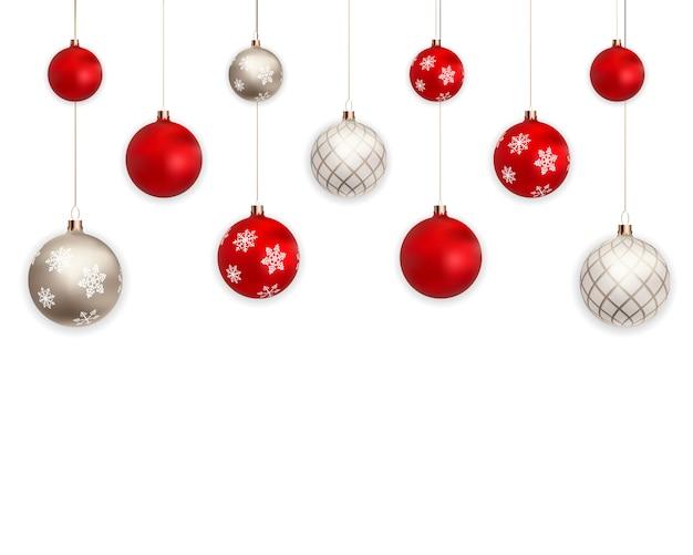 白い背景の上の休日新年デザインの3 dのクリスマスボール Premiumベクター