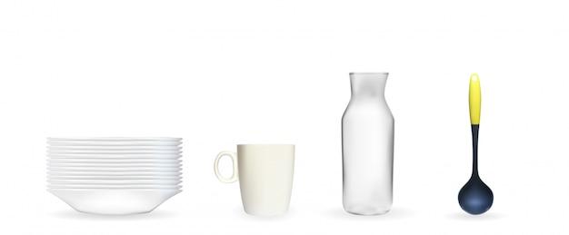 真っ白な皿、鍋、ガラス瓶、カップのリアルな3 dモデルのセット Premiumベクター