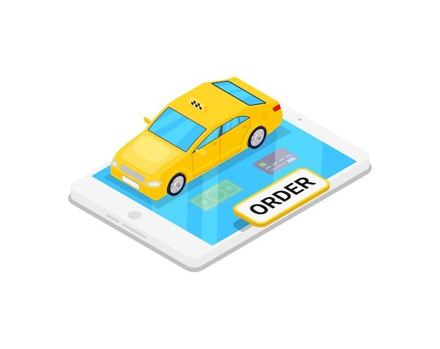 等尺性3 dイラストを注文するオンラインタクシー Premiumベクター