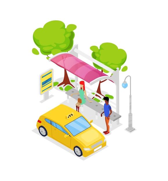 タクシー車停止等尺性3 dアイコン Premiumベクター