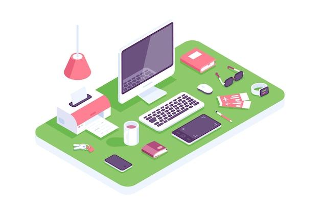 フラット等尺性3 d技術ワークスペース概念ベクトル。ラップトップ、スマートフォン、タブレット、本、デスクトップコンピューター、ヘッドフォン、デバイス、プリンター、アームチェアセット。自宅、デザイナー、それ、オフィスの職場。ホーム Premiumベクター